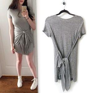 Super Soft Light Grey Mini Dress Front Tie